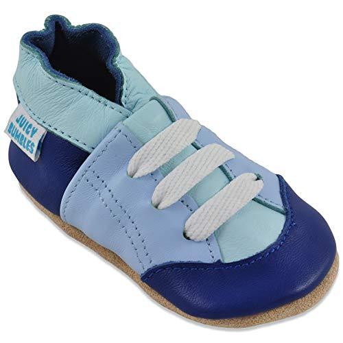 Scarpe Bimbo Scarpine Neonato in Morbida Pelle - Scarpe Bambino Primi Passi - Sneaker Blu -12-18 Mesi