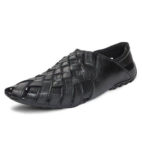 Bacca Bucci Men Black Leather Sandals 10 Uk