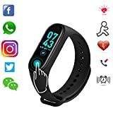 Smart Band M4 Fitness Tracker Watch Heart Rate with Activity Tracker Waterproof Body Functions Like Steps Counter, Calorie Counter, Blood Pressure, Heart Rate Monitor LED Touchscreen