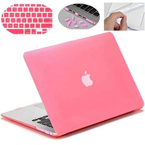 """MOCA Smooth Touch Matte Hard Shell Skin Cover Case for 13 to 13.3"""" Laptop with 3 MacBook Saviour Accessories (Pink)"""