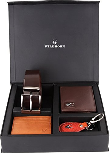Wildhorn Combo Of Men's Brown Wallet, Keyring , Credit Card Wallet & Belt
