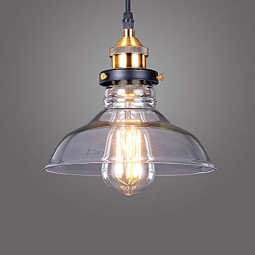Glighone Lampada a Sospensione Stile Edison Vintage Industriale Lampadario da Soffitto Paralume in...