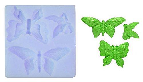 Molde de silicona con El Molde de las mariposas 3. Para la pasta de azúcar, fundentes, etc para uso alimentario de DIY.Cat: mariposa mariposas insectos Farfallina
