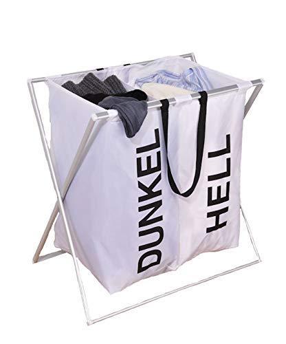 Spetebo Wäschesammler 2 Fächer weiß - Wäschesortierer Wäschekorb Wäschesack faltbar