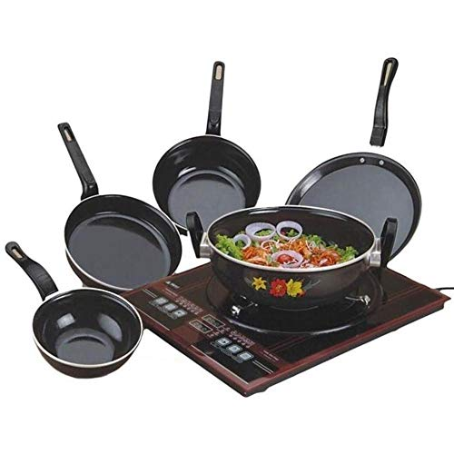 Xllent® Non Stick Set/Popular Induction Non-Stick Cookware Set/Kadhai/Tawa/Frypan/Tadka/Sauce Pan/(Black) - 5 Pieces Induction Base Cookware Set/Cookware Pan Set
