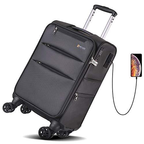 Maleta de Cabina Blanda con 2 Puertos USB y Candado TSA - REYLEO