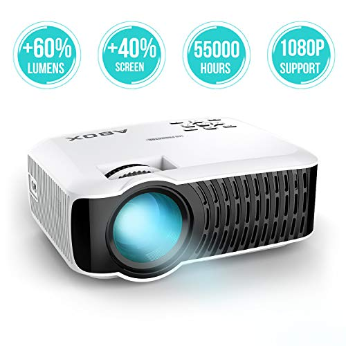 ABOX T22 Mini Proyector, LED 2400 Lúmenes Proyector Portátil de Cine en Casa 1080P Soporte Amazon Fire TV Stick, HDMI, VGA, USB, AV, iPad, iphone, Android Smartphone Multimedia Video Proyector