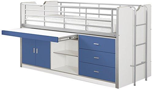 Vipack BOHS9507 Hochbett Bonny, Circa 207 x 116 x 98 cm, Liegefläche 90 x 200 cm, 07, weiß/blau