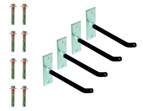 GAH-Alberts 801960 Felgenhalter-Set, galvanisch verzinkt, Überzug mit PVC-Schlauch, Haken: 200 mm, Platte: 120 x 40 x 5 mm