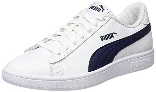 Puma Puma Smash v2 L Scarpe da Ginnastica Basse Unisex - Adulto, Bianco (Puma White-Peacoat), 47 EU (12 UK)