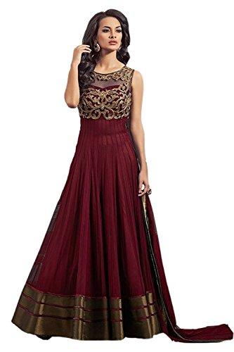Lovisa Fashion Women'S Net Dress Material (P09-Maroon2_Maroon_Free Size)