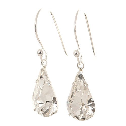 656cb7759 pewterhooter 925 Sterling Silver drop earrings expertly made with teardrop  Diamond White crystal from SWAROVSKI London Box