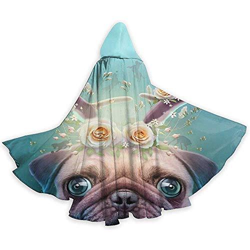 Sobre-mesa Mantello per Adulti Pug Pug Horns Up Mantello con Cappuccio Mantello per Halloween...