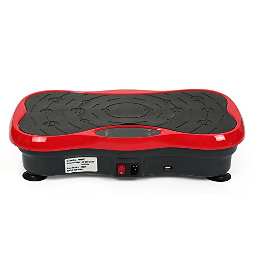 Flyelf Profi Vibrationsplatte,200W Vibration Plate mit LCD Display + Bluetooth Musik + Fernbedienung + Trainingsbänder (Schwarz + Rot)