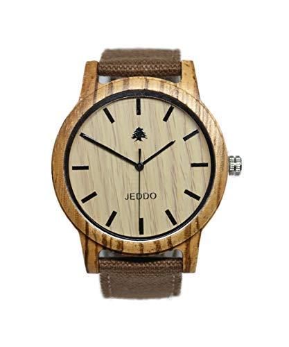 JEDDO Orologio da polso in legno, Marrone, Leggero con incisione su albero di cedro