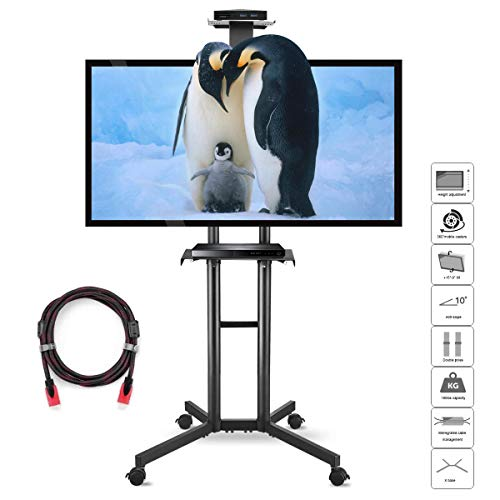 Suptek Mobile TV Carrello Supporto universale con supporto TV per schermi e display da 32 a 60...