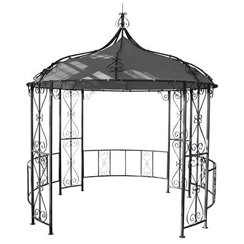Mendler Pergola Almeria, Rundpavillon Garten Pavillon, stabiles Stahl-Gestell Ø 3m ~ grau