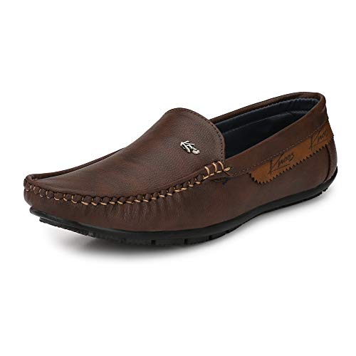Knoos Men's Brown Synthetic Comfort Casual Loafers (10)