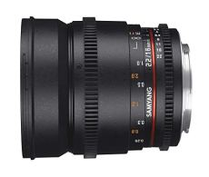 Samyang F1322710101 - Objetivo para vídeo VDSLR para Fuji X (Distancia Focal Fija 16mm, Apertura T2.2-22 ED AS UMC CS II, diámetro Filtro: 77mm), Negro