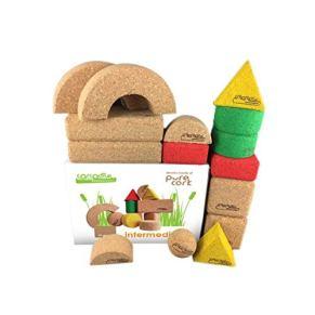 Corcodile - Bloques de corcho sin plástico para niños a partir de 1 año (15 piezas)