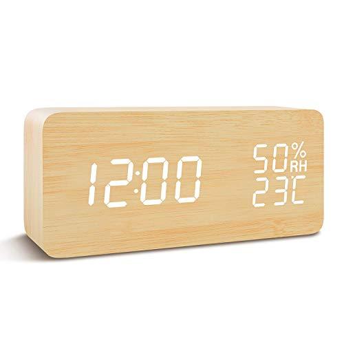 Wisenovo Sveglia LED in Legno, Wood Cube Sveglia da Tavolo Digitale, 3 Set di Allarme, Doppia...