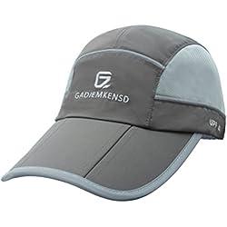 GADIEMENSS Sport Cap Faltbarer Hut mit Reflexion Wasserabstoßung Funktion und Mesh Race Geeignet für Laufen Outdoor-Aktivität (Dunkelgrau)