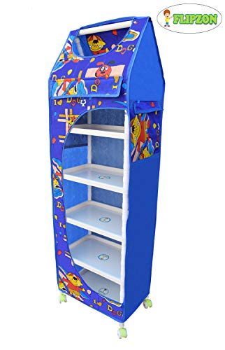 Flipzon Printed 6 Layer (Dogy) Toy Box/Wardrobe (Make in India), Blue