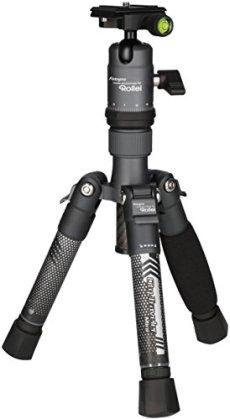 Rollei City Traveler Mini - Trípode Mesa superligero de Carbono, Diseñado para cámaras DSLM, Actioncams, Cámaras 360 grados y Smartphones, Arca Swiss compatible, incl. Cabezal esférico y bolso de trípode - Titán