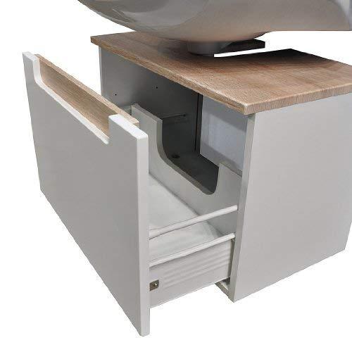 Held Möbel 316.3022 Siena Unterbeckenschrank 1 Metallauszug, 60 x 40 x 35 cm, Hochglanz-weiß Eiche-Sonoma