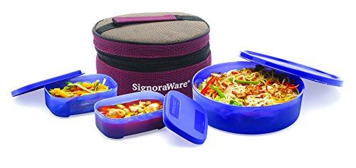 Signoraware Classic Lunch Box Set with Bag, 800ml, Deep Violet