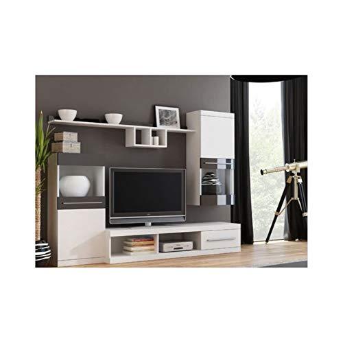 AZURA HOME DESIGN - Mobile TV Nicko, 220 cm, Colore: Rovere Bianco
