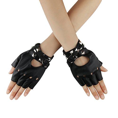 Cusfull Punk Handschuhe Armband mit Nieten Halbfinger aus Kunstleder Kostüm Zubehör Rock Gothic Stil 1