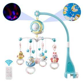 Julyfun Bebé Cuna Musical móvil con proyector y Luces, Juguete de Cuna para bebé Colgando sonajeros giratorios y Caja de…
