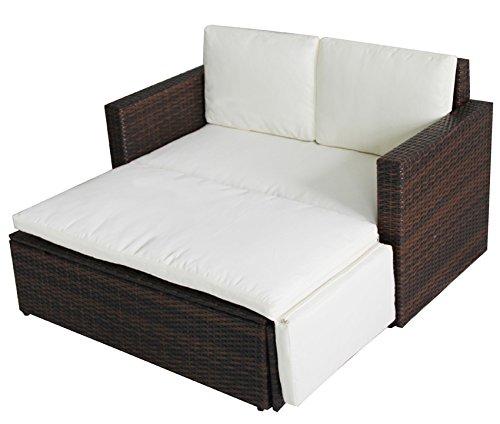 POLY RATTAN Lounge Gartenset Sofa Garnitur Polyrattan Gartenmöbel (Braun) - 2