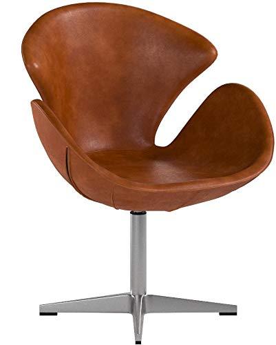 Phoenix 535 - Poltrona Girevole in Vera Pelle, Stile Vintage, Modello: Egg Chair