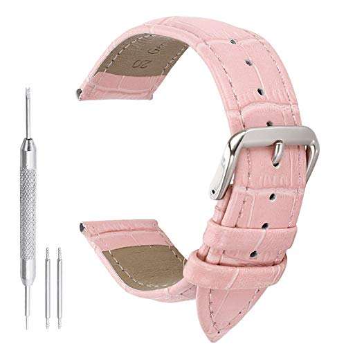 14 mm in pelle rosa sostituzione cinturini cinturino per le donne genuino grano vitello alligatore
