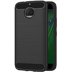 AICEK Funda Moto G5S Plus, Negro Silicona Fundas para Motorola Moto G5S Plus Carcasa Motorola G5S Plus Fibra de Carbono Funda Case (5,5 Pulgadas)