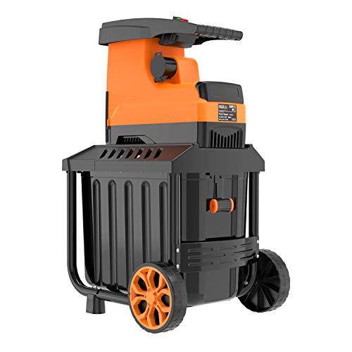 TACKLIFE Häcksler, Elektrischer Walzenhäcksler 2800W, Max. 45mm Aststärke mit 60 L robuste Auffangbox Ideal für den Heim- und Gartengebrauch, PWS01A