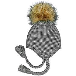 Xuxuou 1 Pieza Gorro de Orejeras de Bebé Sombrero de Bola de Pelo Sombrero de Punto size 48-52cm (Gris)
