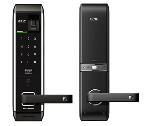 Epic Aluminium Fingerprint Door Lock Password Key RFID Card (Black)