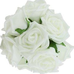 floristikvergleich.de Rosen Brautstrauß Blumenstrauß künstlicher Rosenstrauß Hochzeit Deko künstlicher Rosenstrauß (Weiß)
