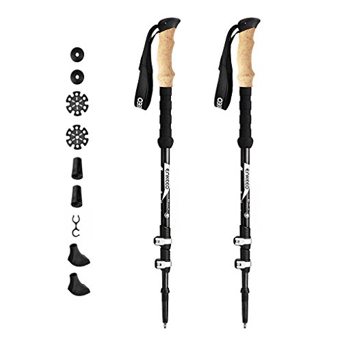 ENKEEO Bastoncini da Trekking Carbonio Telescopici 3 Sezioni, Lunghezza Regolabile 65-135 cm, Maniglie EVA, Ultra Leggero, Punte in Carburo di Tungsteno, 1 Paio