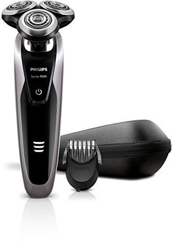 Philips S9111/41 - Afeitadora eléctrica, uso en seco y húmedo, con perfilador de barba y bolsa de viaje, color plata