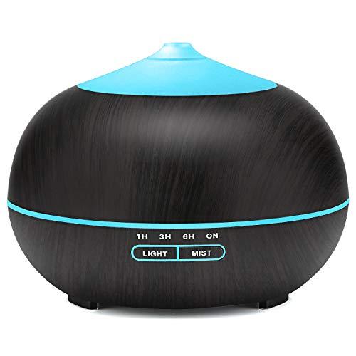 400ml Aroma Diffuser, Tenswall Ultraschall Luftbefeuchter Aromatherapie Ätherische Öle Luftbefeuchter mit 7 Farben LED Lichter für zuhause, Yoga, Büro, SPA, Schlafzimmer