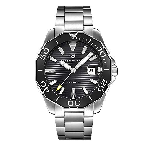 Pagani Design Herren Klassische Taucher-Serie Mechanische Uhren Wasserdicht Edelstahl Marke Luxus Armbanduhr Herren - Schwarz