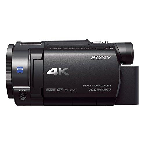 Sony FDR-AX33 Videocamera Handycam 4K Ultra HD, Sensore CMOS Exmor R da 7,76 mm retroilluminato, Obiettivo ZEISS Vario-Sonnar T* con Zoom Ottico 10x, Nero