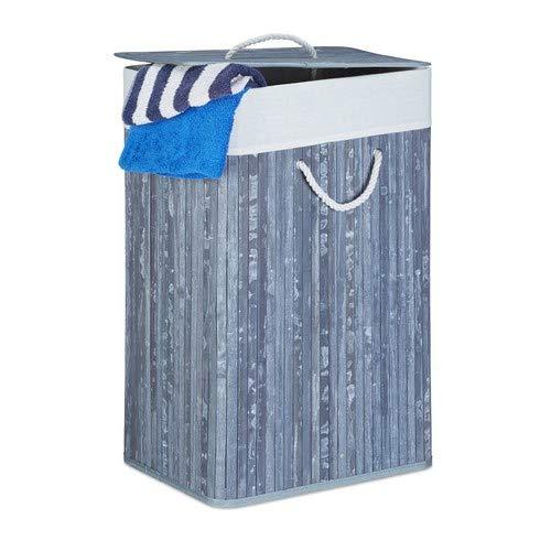 Relaxdays Wäschekorb Bambus, faltbare Wäschetruhe rechteckig, 83 L Volumen, H x B x T: ca. 65,5 x 43,5 x 33,5 cm, grau