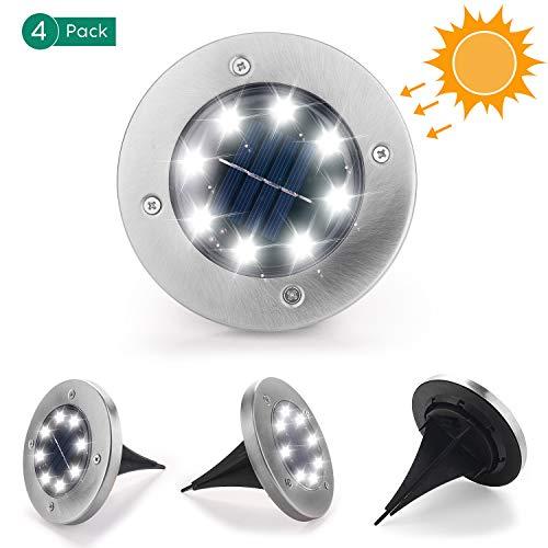 Herefun Luci Solari da Giardino, 4 Pezzi 8 LED Luce Sepolta LED Solare IP65 Impermeabile Wireless...