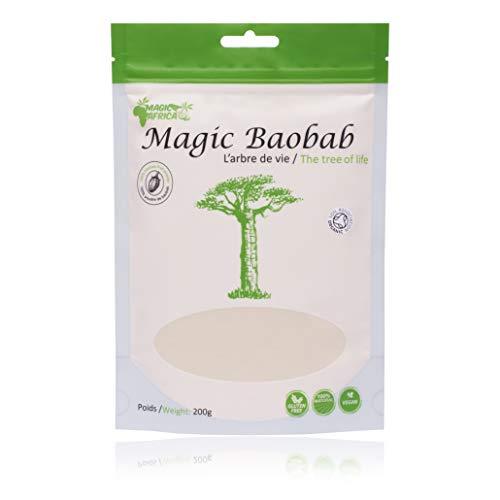Polvo de fruta Baoba Magic Africa - Polvo crudo orgánico de super fruta Baobab - Sin OMG - Certificado 100% Orgánico - 200g