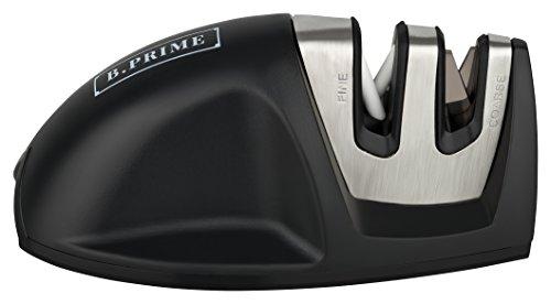 B.PRIME Messerschärfer Mouse Black - 2 Stufen Messerschleifer - Wolframstahl für den Vorschliff - Keramikstein für Feinschliff